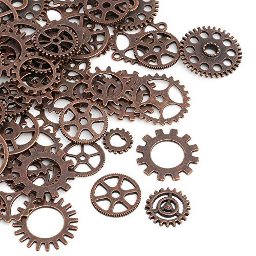 Naler 80 Stk. Zahnräder Steampunk Metall für Schmuck Basteln Kostüm (Kupfer)