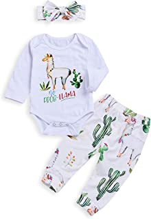 3pcs Baby Girls Boys Alpaca Long Sleeve White Romper Tops + Cactus Floral Pants with Headband