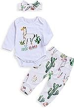 BELS 3pcs Baby Girls Boys Alpaca Long Sleeve White Romper Tops + Cactus Floral Pants with Headband