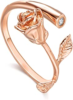 Rose Women Girls Ring Jewelry Gold Plated with Cubic Zirconia Adjustable Rose Flower Open Ring for Female Fashion Ring for Women Lady Girls Gift Jewelry(3 Colors)