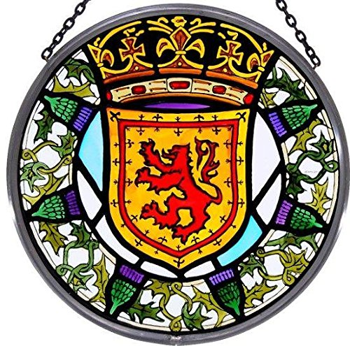 Decorative Hand Painted Stained Glass Window Sun Catcher/Roundel in a Scottish Lion and Thistle Design