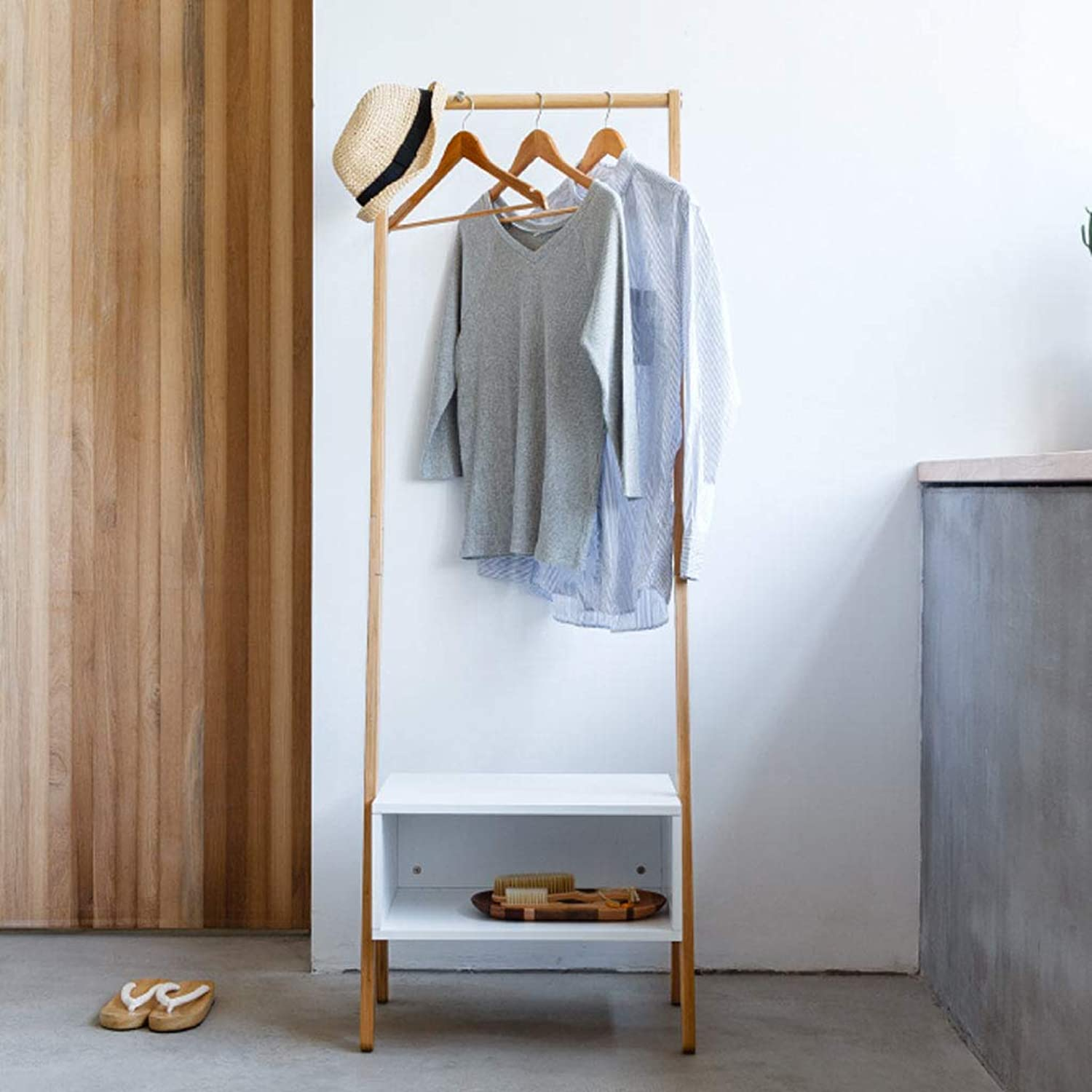 JTWJ Creative Bedroom Floor Coat Rack Living Room Porch Hanger Storage Changeable shoes Bench Coat Rack