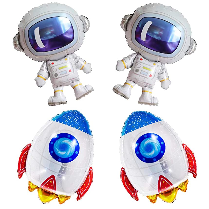 4Pcs Cute Large Size Outer Space Cartoon Balloons Astronaut Balloons Rocket Balloons for Kids Planet Themed Party Supplies Baby Shower Birthday Party。 (Colorful)