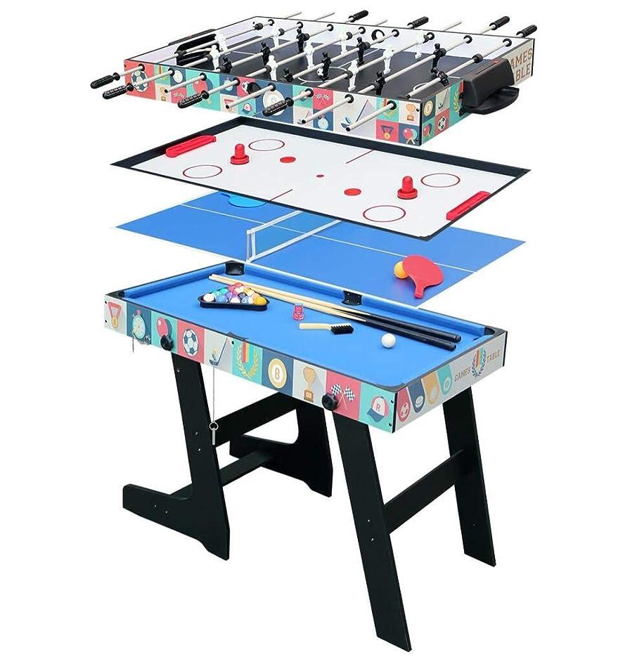 吐き出す問い合わせる接ぎ木HLC マルチテーブルゲーム テーブルゲーム4in1卓球、ホッケー、ビリヤード (ブルー)