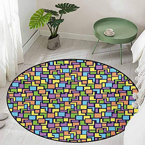 Round Soft Area Rug for Children Baby Colorful Composition with Angled Stripes and Squares Retro Style Arrangement Diameter 48 inch Bathroom Rugs