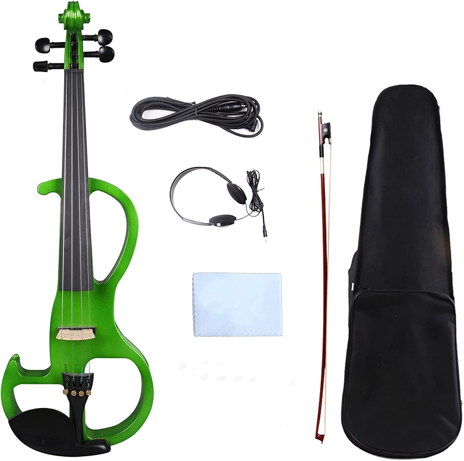 Green 4 Electric Silent Ou Credence Boston Mall Case+Bow+Cable Violin Wooden