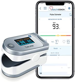 Beurer Bluetooth Digital fingertip Pulse Oximeter, Blood Oxygen Saturation & Pulse Rate Monitor With Accessories, po60