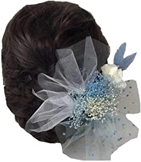 花職人の店 いるでぱいん 髪飾り かすみ草 あじさい チュール ラグラス 17本セット プリザーブドフラワー ホワイト ブルー ヘッドドレス ヘアーアクセサリー ウエディング ブライダル 子供 お正月 成人式 花