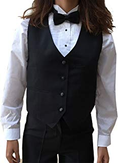 Tuxedo Vest, Womens 4 Button Black Waitress Bartender Uniform