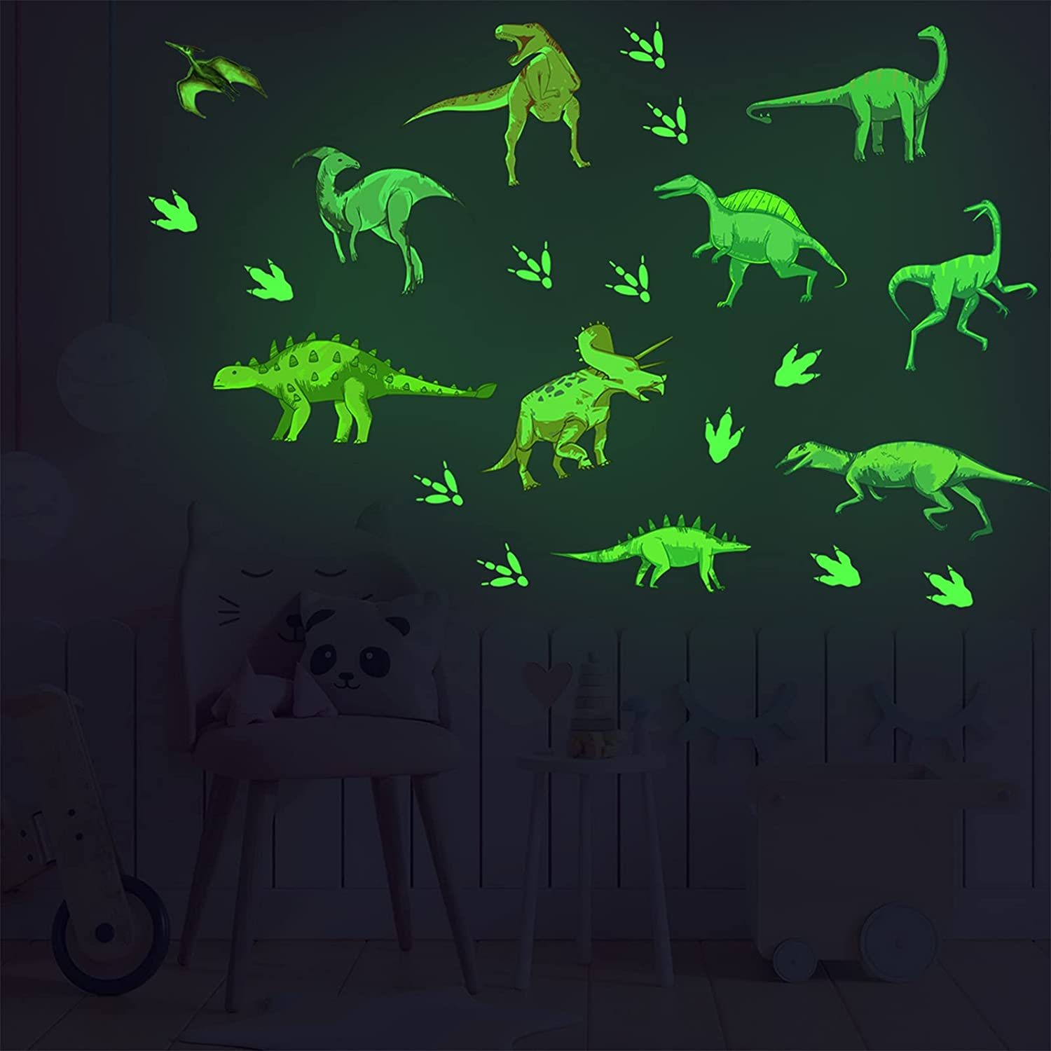 COKOYY Glow in The Dark Dinosaurs Wall Decals, Luminous Dinosaurs with Footprints Wall Stickers, Removable DIY Bright Decoration for Ceiling, Boys Bedroom, Nursery, Living Room Décor
