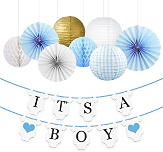 NICROLANDEE Gender Reveal Decorations for Boy - Gold White Paper Lantern Fan Tissue Honeycomb Ball and