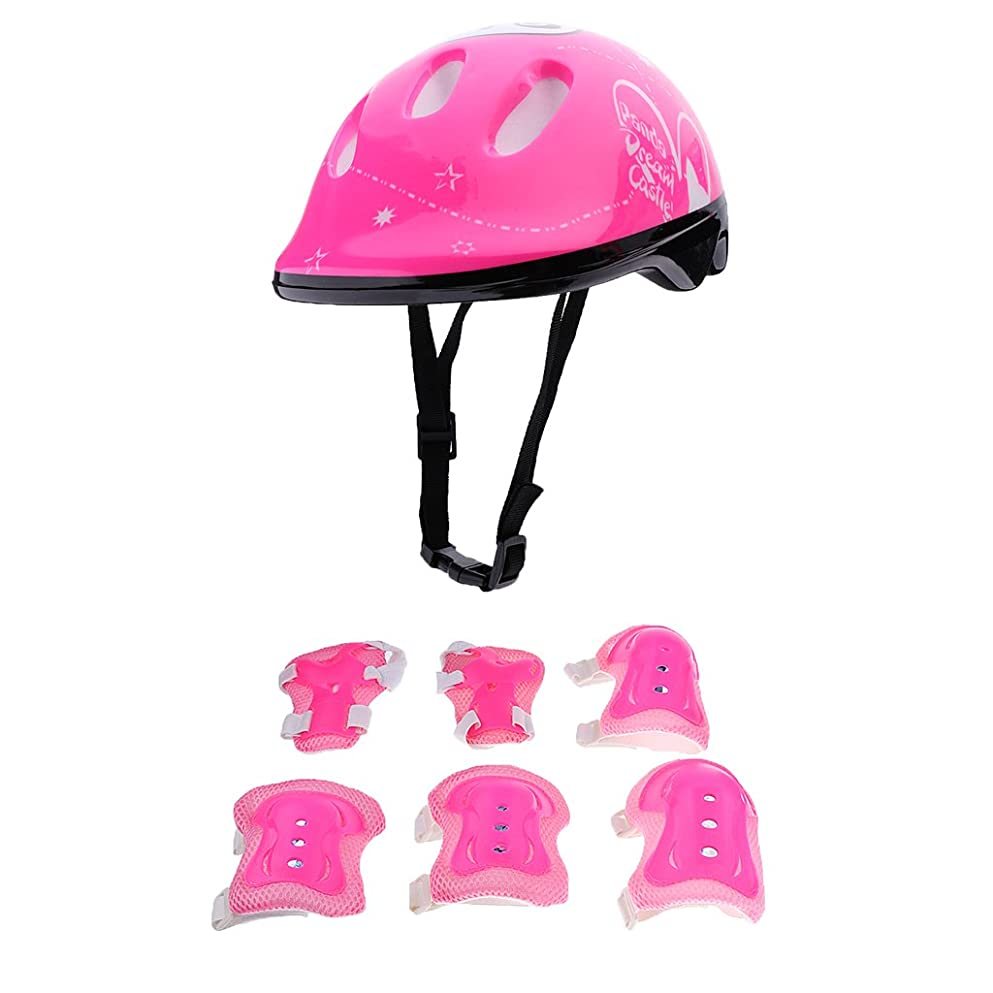 疑問に思うびっくりしたグレートバリアリーフノーブランド品 全3色 子供 キッズ スケート 自転車 ヘルメット 膝あて 手首ガード 肘パッド エルボーパッド - ピンク