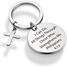 WENATA Christian Keychain I Can Do All Things Through Christ Scripture Keychain Religious Jewelry Gift Verse Bible Keychain First Communion Gift