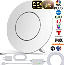 [Upgraded 2020] TV Antenna, Indoor HD Digital Antenna Amplified 200 Miles Range Support 4K 1080P & All TV's Digital Antenna with Amplifier Signal Booster,17ft Coax Cable/USB Power Adapter (White)