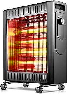 WLJQNQ Calentador eléctrico, calefacción de Tubo de Cuarzo de 2100 W y Ajuste del termostato Portátil 2 configuraciones de calefacción Rojo Negro Radiador eléctrico (Color : Negro)