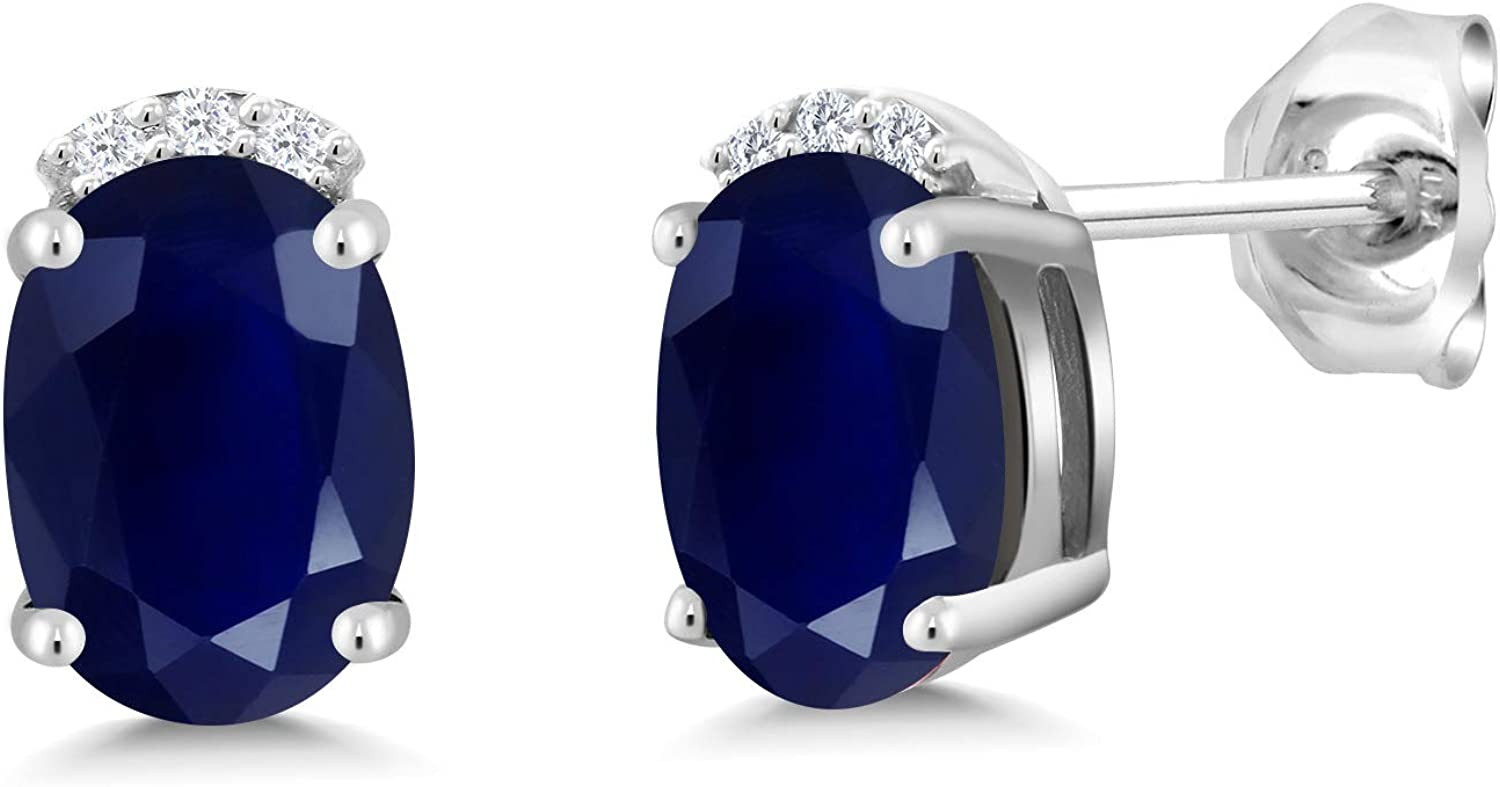 Gem New products world's highest quality popular Stone Limited price King 925 Sterling Silver Wo For Sapphire Earrings Blue