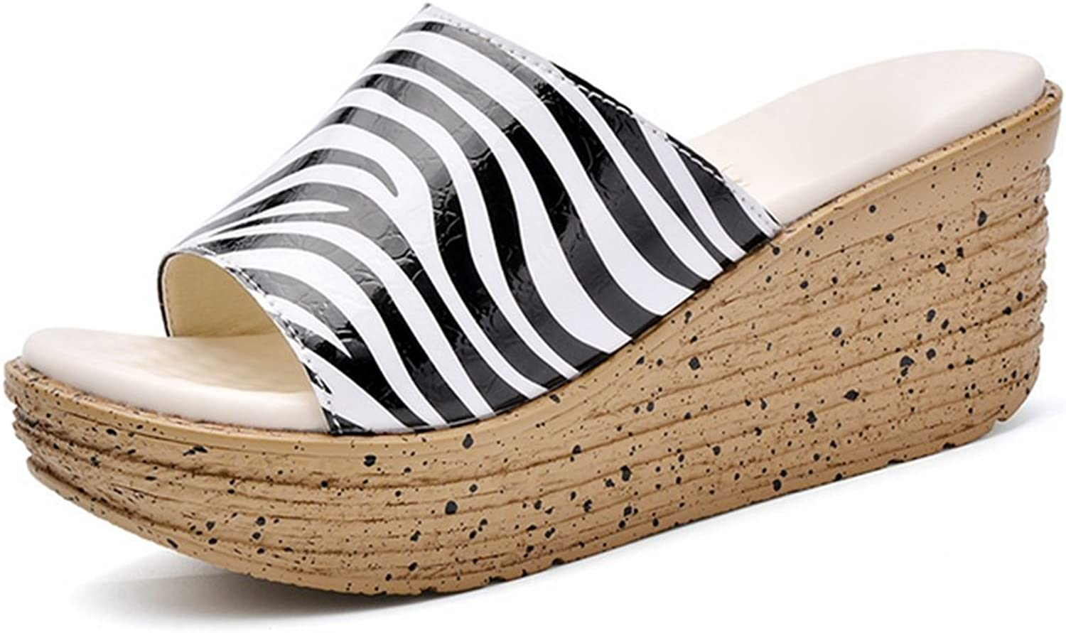 Weiwei Lady Summer Thick-Soled Slippers,Zebra Sandals Lined Slippers