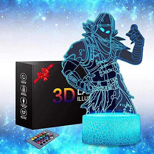 Battle Royale Toys 3D luz nocturna LED lámpara de ilusión óptica de 16 colores de control táctil para decoración del hogar, regalo de cumpleaños de Navidad