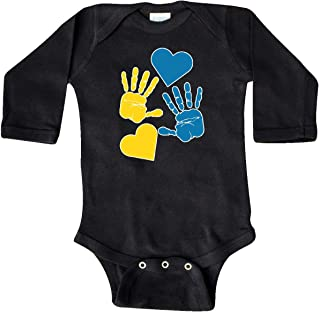 Down Syndrome Awareness with Handprints and Hearts Long Sleeve Creeper