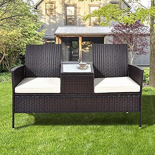 ModernLuxe Polyrattan Gartenbank Gartensofa Garten Möbel Mit Tisch 2 Sitzer Loveseat inkl. 5cm Auflagen, Braun