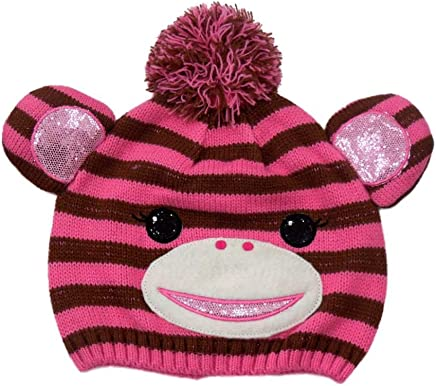 49489f92 CP Girls Striped Pink & Brown Monkey Hat Critter Style Beanie Stocking Cap