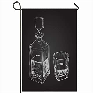 Ahawoso Outdoor Garden Flag 28x40 Inches Bourbon Sketch Whiskey Bottle Glass Brandy Food Drink Decanter Alcoholic Alcoholism Rum Bar Beverage Seasonal Home Decor Welcome House Yard Banner Sign Flags