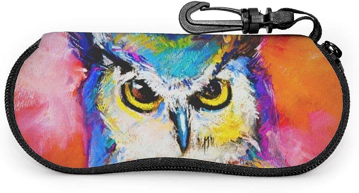Art Pastel Painting Of An Owl Sunglasses Soft Case Ultra Light Neoprene Zipper Eyeglass Case With Key Chain