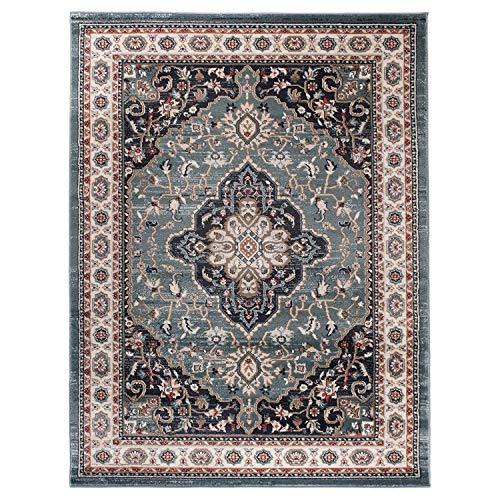 Carpeto Traditioneller Orientalischer Teppich - Kurzflor - Weicher Teppich Perser für Wohnzimmer Schlafzimmer Esszimmer - ÖKO-TEX Zertifiziert - AYLA - 200 x 300 cm - Blau