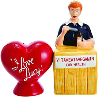 Kurt Adler Kurt S. Adler I Love Lucy Vitameatavegamin Handpainted Ceramic Salt & Pepper 2-Piece Set Salt and Pepper Shaker,
