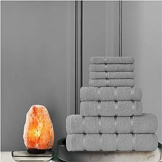 Gaveno Cavailia Luxurious 8 Pack Boston Towel Bale Set ( 4 Face, 2 Hand and 2 Bath), Cotton, Silver