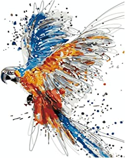 SUBERY Paintworks DIY Oil Painting Paint by Number Kits for Adults Kids Beginner - Colorful Birds 16x20 inches (Without Fr...