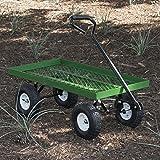 ARKSEN 1000 lb Flatbed Utility Garden Cart Padded Pull Handle, 10' Pneumatic Tires All-Terrain Nursery Farm, 38' x 20'