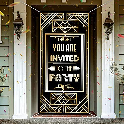 Decoración de Fiesta de Locos Años 20 Gran Tejido Retro de You Are Invited To The Party Telón de Fondo de Puerta de 1920 Cartel de Fondo de Oro Negro Vintage de Años 20, 6 x 3 Feet …