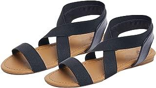 kai-da Women's Sandals Women Summer Fashion Rome Cross Strap Flats Sandals Casual Low Heel Anti Skidding Beach Shoes