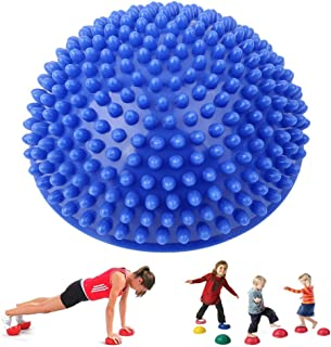 Foot Acupressure Massage Balance Exercise Ball for Lumbar Shoulder Arch Supports, FUNUP Spiky Stress Relief Gifts for Body Deep Tissue Muscle Reflexology (Blue, Half a Sphere)