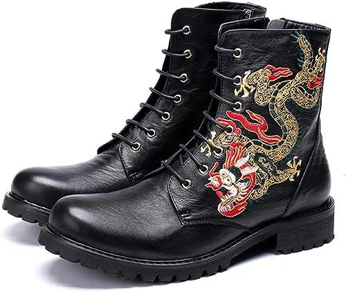 Mr.Zhang's Art Home Men's schuhe Los schuhe de Cuero schwarz de otoño e Invierno Aumentan Las Stiefel de dragón para Hombre.