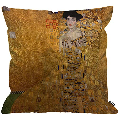 HGOD DESIGNS Cushion Cover Gustav Klimts The Lady in Gold,Throw Pillow Case Home Decorative for Men/Women Living Room Bedroom Sofa Chair 18X18 Inch Pillowcase 45X45cm