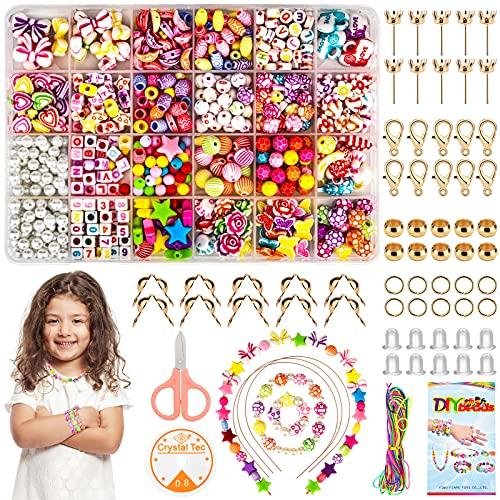 Perlen Zum Auffädeln Kinder, 564 Stück Schmuck Selber Machen Set Kinder mit Elastischer Schnur, Sicherheitsschere und Handbuch für die Herstellung Von Kinderschmuck