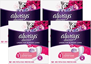 Always Discreet Incontinence Liners for Women, Lightest Absorbency, 208 Count, Short Length (52 Count, Pack of 4 - 208 Cou...