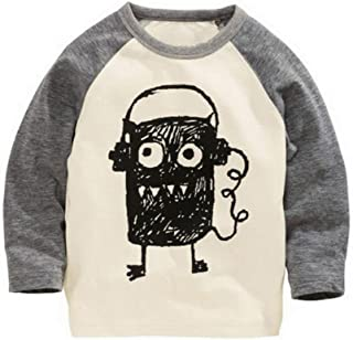 Boys Doodle Big Eyes Monster Funny Long Sleeve T Shirt
