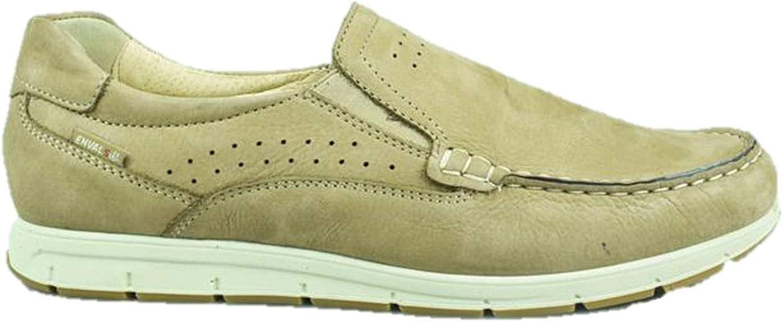 ENVAL SOFT 3238055 Moccasin shoes Slip on Boat Beige Nubuck Leather