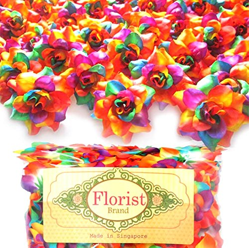 (100) Silk Rainbow Roses Flower Head - 1.75' - Artificial Flowers Heads Fabric Floral Supplies Wholesale Lot for Wedding Flowers Accessories Make Bridal Hair Clips Headbands Dress