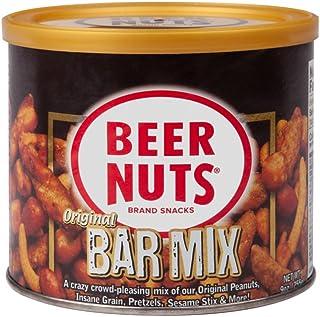 BEER NUTS Original Bar Mix - 9oz Resealable Can, Pretzels, Cheese Sticks, Sesame Sticks, Roasted Corn Nuts, and Original P...