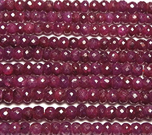 """16"""" Strand Genuine RUBY 4.5-5mm Faceted Rondelle Beads /d4"""