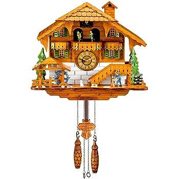 Kintrot Pendule A Coucou Chalet De La Foret Noire Horloge Murale En Bois Avec Pendule Murale Pendule Oiseau Mobile Danseuses Moulin A Eau Bucheron 12 Melodies Differentes Amazon Fr Cuisine Maison