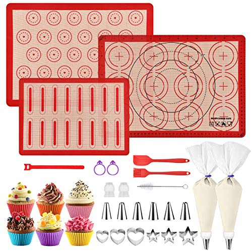 Silicone Macaron Baking Mat Kit - Set of 31 Non Stick Silicone Baking Kit-12 Piping Tip 2 Reusable Piping Bags Silicone Baking Sheets-Food Safe Macaron Mat for Cookies|Macarons|Bread|Pastry