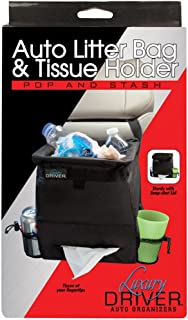 Luxury Driver 12501 Pop and Stash Auto Litter Bag and Tissue Holder Organizer