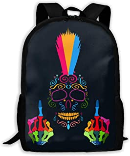 KIENGG Colorful Middle Finger Skull Unisex Adult Custom Backpack,School Casual Sports Book Bags,Durable Oxford Outdoor College Laptop Computer Shoulder Bags,Lightweight Travel Daypacks