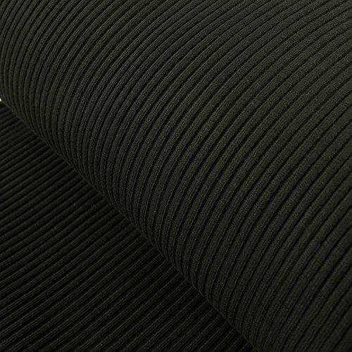 Stoffe Werning Grobstrick Bündchen Meterware schwarz -Preis Gilt für 0,5 Meter-