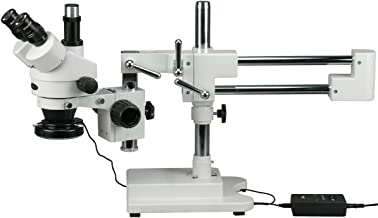 AmScope SM-4TZ-144 Professional Trinocular Stereo Zoom Microscope, WH10x Eyepieces, 3.5X-90X Magnification, 0.7X-4.5X Zoom Objective, 144-Bulb LED Ring Light, Double-Arm Boom Stand, 110V-240V, Includes 0.5X and 2.0X Barlow Lens